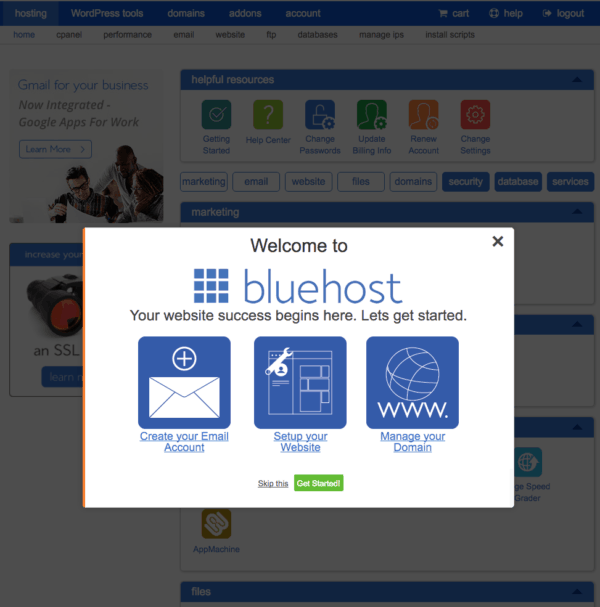 welcome to bluehost   get started bluehost