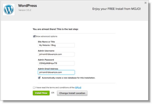 wordpress setup on bluehost final step