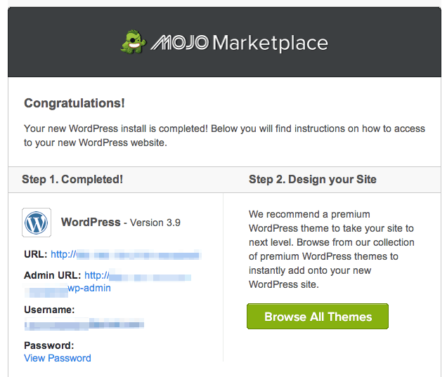Bluehost wordpress installation complete | design your wordpress site