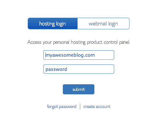 Bluehost login to control panel