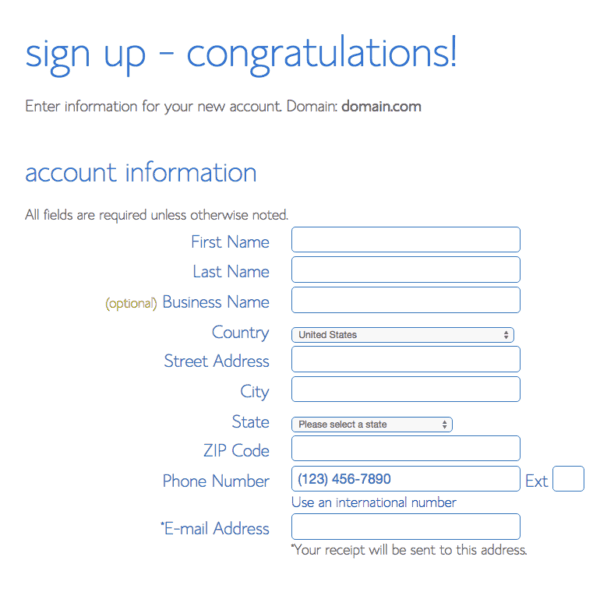 bluehost signup   Bluehost account information