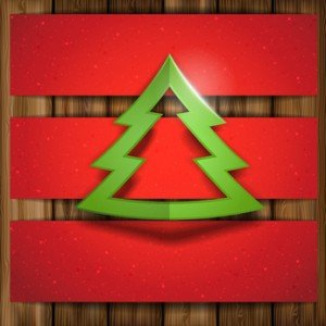 Christmas tree with wood background