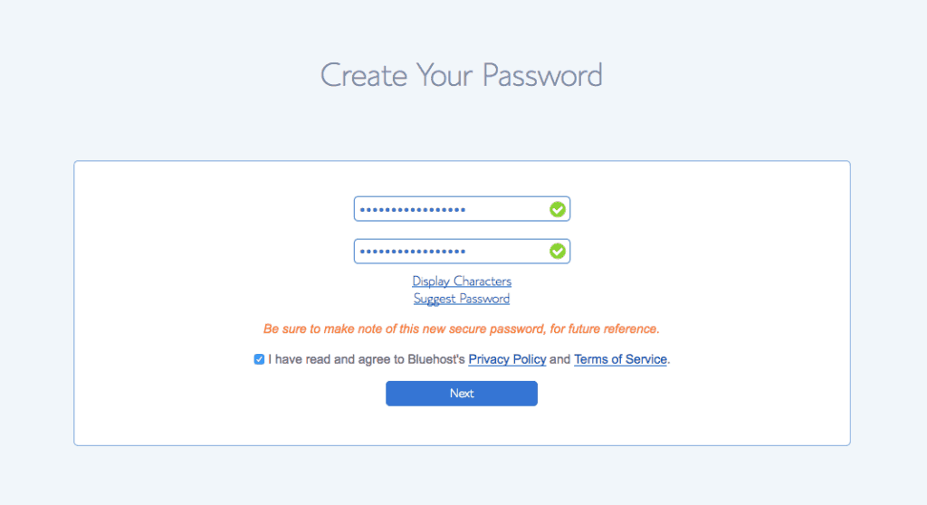 Create Password Bluehost Step 2