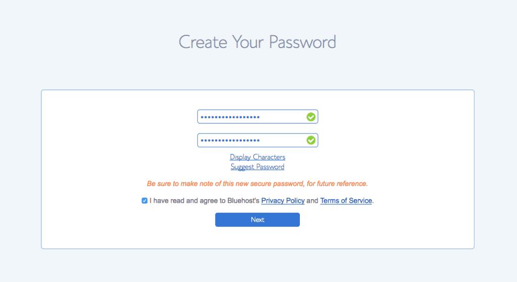 Create Password Bluehost Step 2